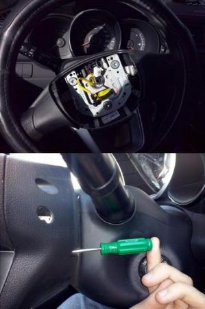 Установка кнопок на руле без снятия на Рио